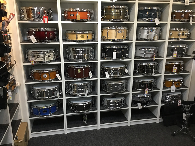 Snares stacked at Manchester Drum